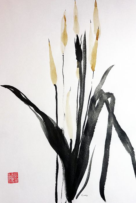 Tea Tails - sumi-e by Casey Shannon. Fine Art prints and cards are available.