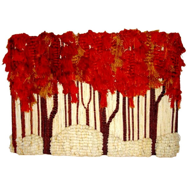 """1STDIBS.COM - Dasberg Antiques - Ted Morris - Ted Morris Textile Weave Wall Sculpture """"Fall Trees"""" Tapestry found on Polyvore"""