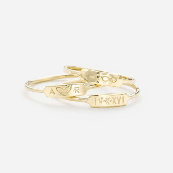 Personalized Bar Ring   Custom Roman Numerals Ring  Custom