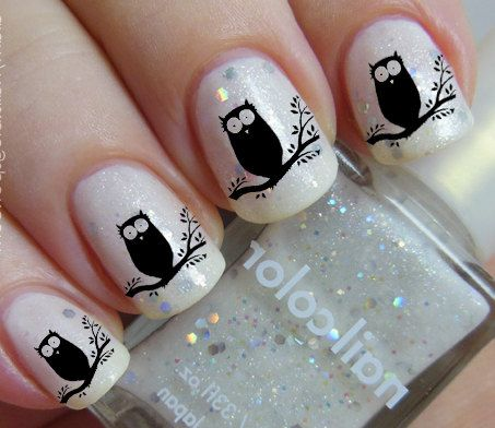 36 Bird Nail Art - Black OWLS on a Tree - Familiar Symbols Nail Art Water Slide Transfers Not Stickers on Etsy, $4.68
