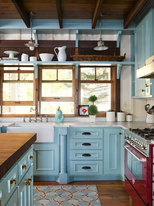 Blue Farmhouse Kitchen With Red Accents