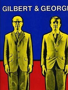 Book cover showing Gilbert (right) and George (left). They adopt the slogan 'Art for All', .