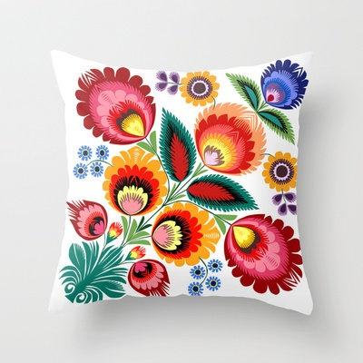 Polish Folk Art Throw Pillow by Bachullus   Society6