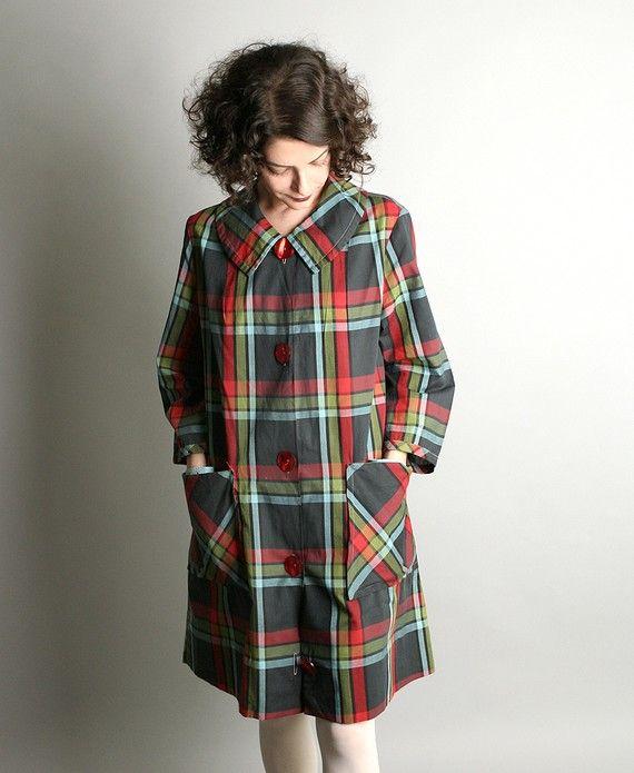 vintage plaid lightweight coat