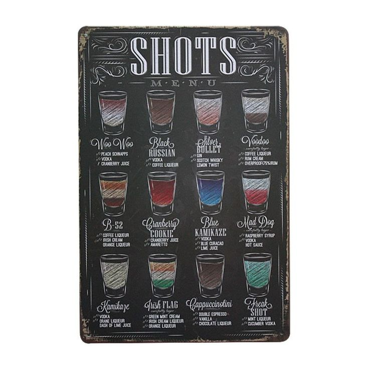 "Discounted TODAY:https://www.rousetheroom.com/products/old-bar-sign-menu ""Shots Menu"" Bar Signs Decor"