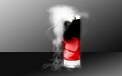 cocktail qui fume pour Halloween aux 2 vodkas et 2 couleurs en étage : rouge et noir