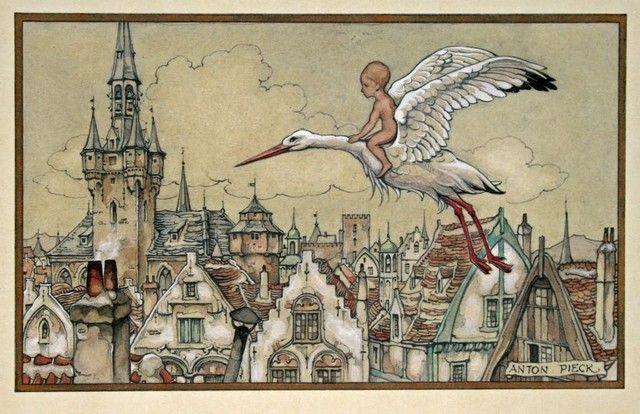 Birth Announcement. Artwork by Anton Piek (1895-1987). Dutch painter, artist and graphic artist.
