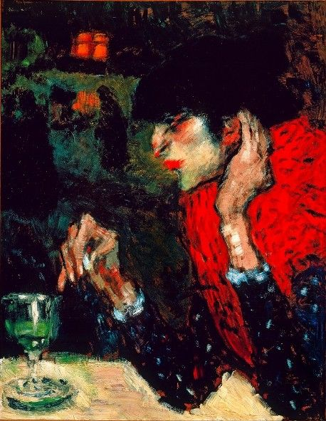 Woman Drinking #Absinthe, 1901, #Picasso #Art #Expressionism: Picasso Paintings, Oil Paintings, Absinth Drinker, Drinker 1901, Drinks Absinth, Famous Artists, Pablo Ruiz, Woman Drinks, Pablo Picasso