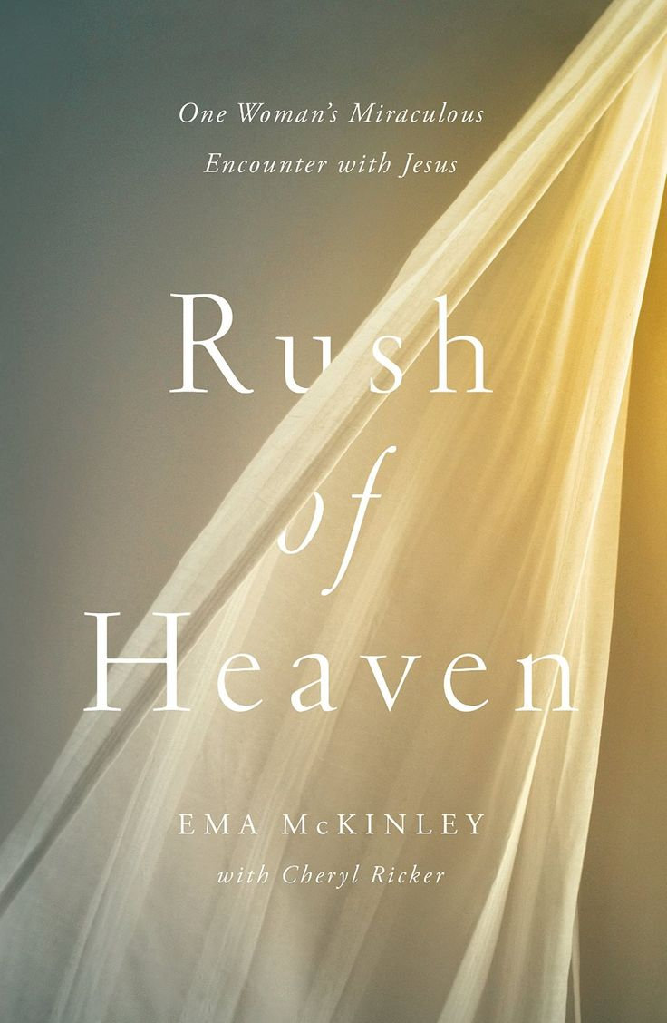 """Rush of Heaven: One Woman's Miraculous Encounter with Jesus by Ema McKinley & Cheryl Ricker. """"Ema, give me your hand."""" These were the words Jesus spoke to Ema on Christmas Eve before He straightened her crooked foot, hand, neck, and spine, and restored her mobility. Easter weekend, eighteen years earlier, an ordinary workday turned into a nightmare when Ema McKinley passed out and was left hanging upside down in the storage room."""