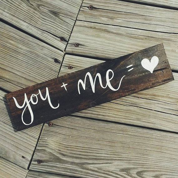You and Me Sign  Rustic Wedding Sign Hand by TheFreckledGoose