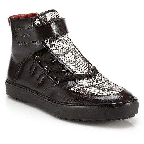 Bally Exotic Python & Leather High-Top Hiker Sneakers ($950) ❤ liked on Polyvore featuring men's fashion, men's shoes, men's sneakers, apparel & accessories, mens lace up shoes, mens black high tops, mens high top sneakers, mens black high top sneakers and mens high tops