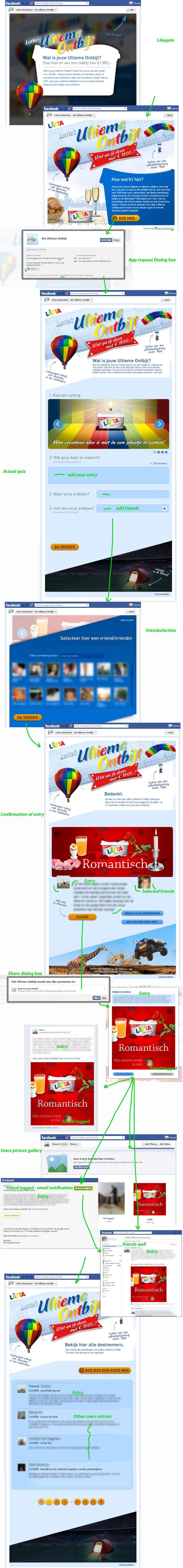 Een fraaie, aggresieve campagne, mijn favoriete Facebook app van deze week is die van Lätta! met likegate, app request voor userdata en het toevoegen van een afbeelding en fotomap op het profiel van de gebruiker en op de wall van friends die de user heeft getagged. Zeer compleet, fraai vormgegeven en goed ingebed in de facebook api. nice!    https://www.facebook.com/LattaNederland