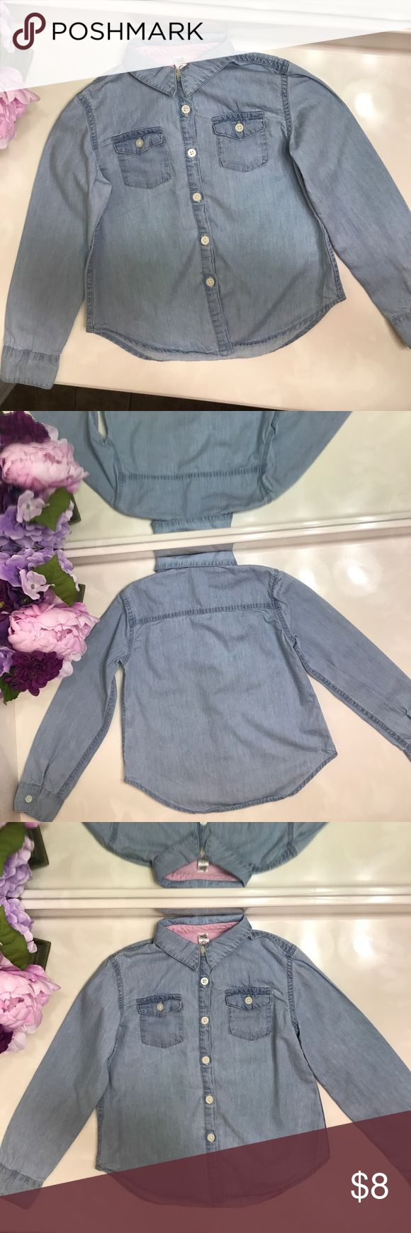Girls Button Down Shirt Great Shirt, super lightweight! A fashion piece for any little girl ✨✨✨ in great condition worn once! Size 6x. Listed as jessica Simpson for exposure . No stains or defects Jessica Simpson Shirts & Tops Button Down Shirts