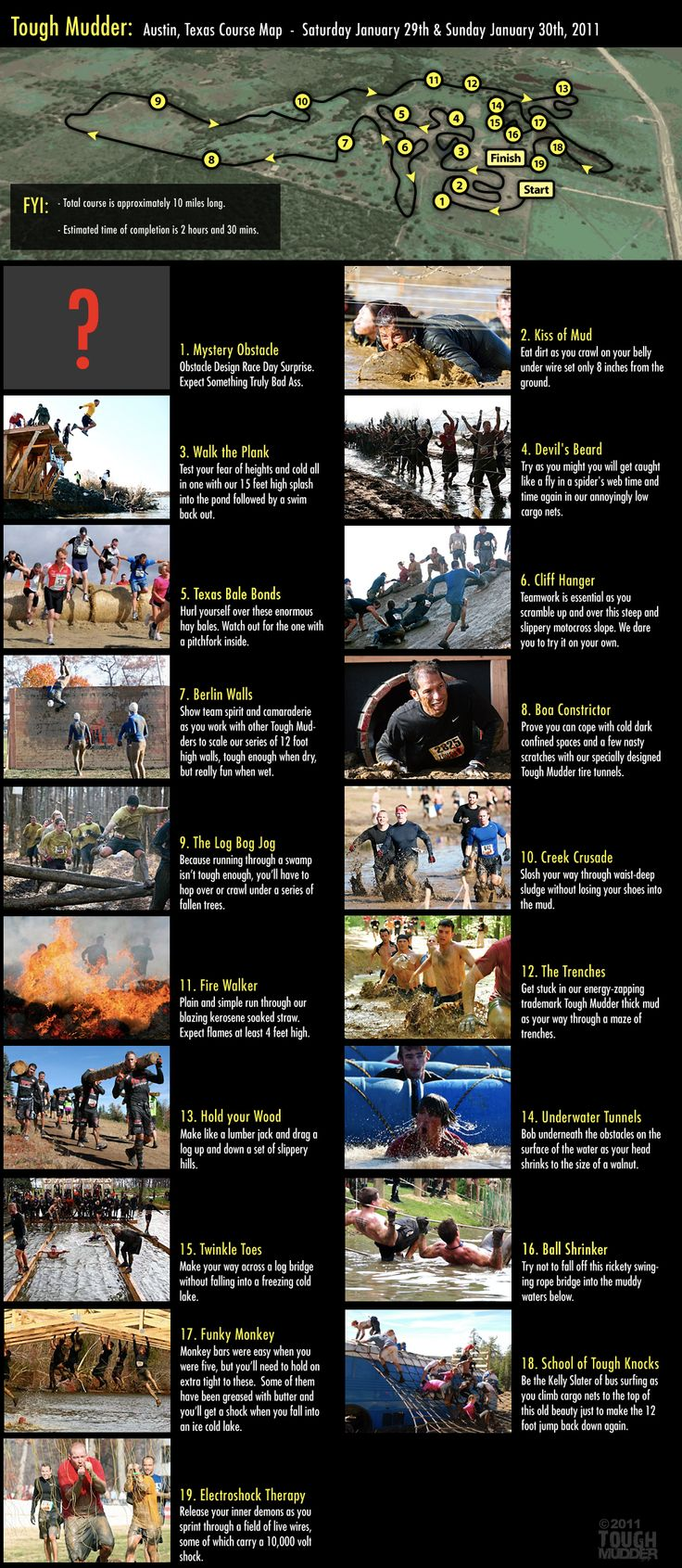 Tough Mudder.. Check out all those obstacles.... I really hate cold water and I'm horrible at climbing things. I guess I better start learning to climb better. Lol.