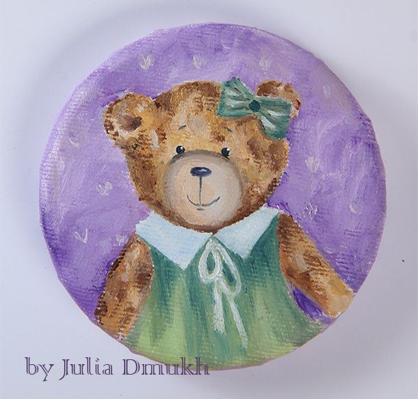 Teddy bear Anny. Painted by me) Oil on canvas