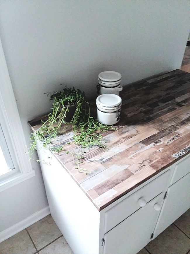 Make A Faux Wood Countertop With Peel And Stick Wallpaper Stow Tellu Wood Countertops Diy Wood Countertops Faux Wood Wall