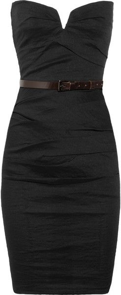 LBD: Linens Blend, Color, Stretch Linens, Blend Dresses, Lbds, Date Nights, Brown Belt, Little Black Dresses, Simple Black Dresses