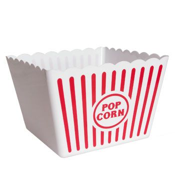 """Dollar Tree This giant popcorn tub is sure to get """"two thumps up""""! Like those from yesteryear, striped plastic popcorn tub holds a ton and is great for parties, athletic events, or movie nights! Washabl"""