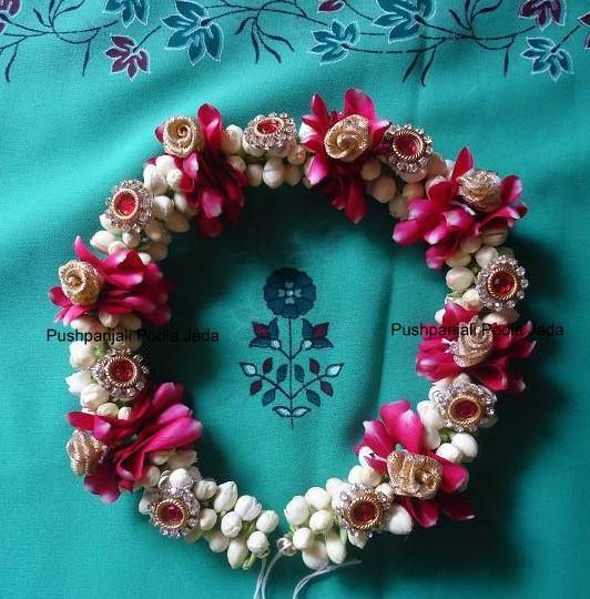 Veni with jasmine and red rose petals,gold roses and kundan applique