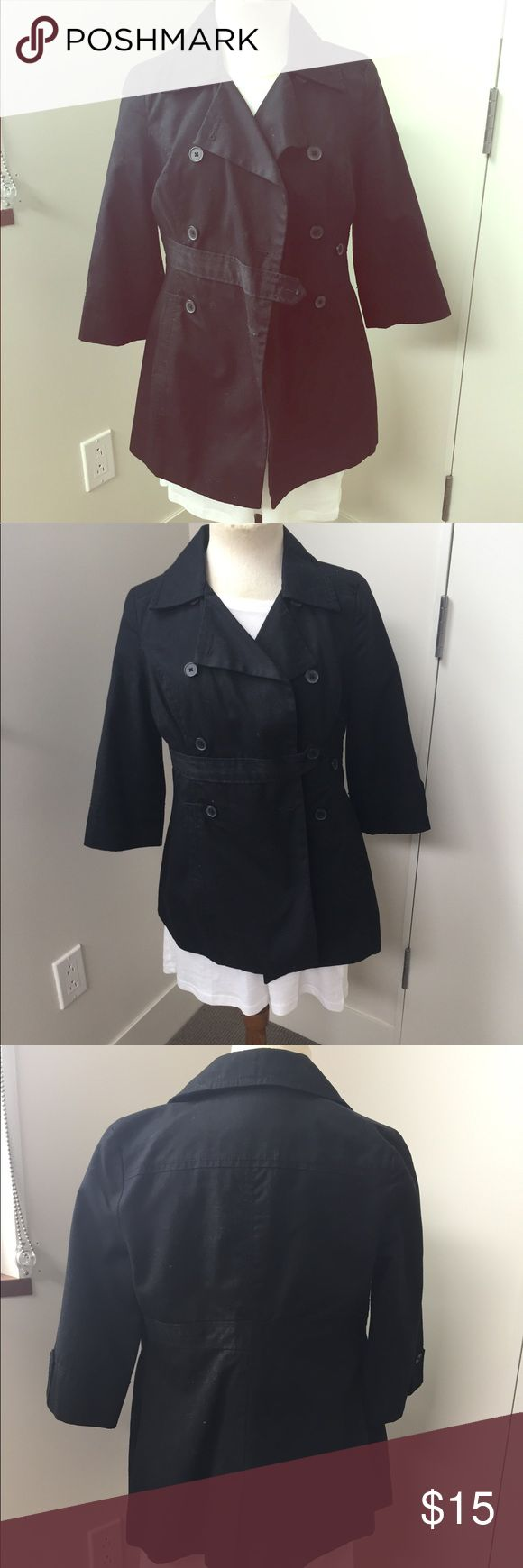 Black 3/4 Sleeve Twill Pea Coat Lightweight black pea coat, lightly lined. Simple, classic, and extra pretty with the 3/4 sleeve. Lightly worn. Old Navy Jackets & Coats Pea Coats
