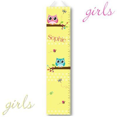 Jds Personalized Gifts Playful Owl Growth Chart Personalized Canvas Art Personalized Growth Chart Growth Chart Childrens Growth Charts