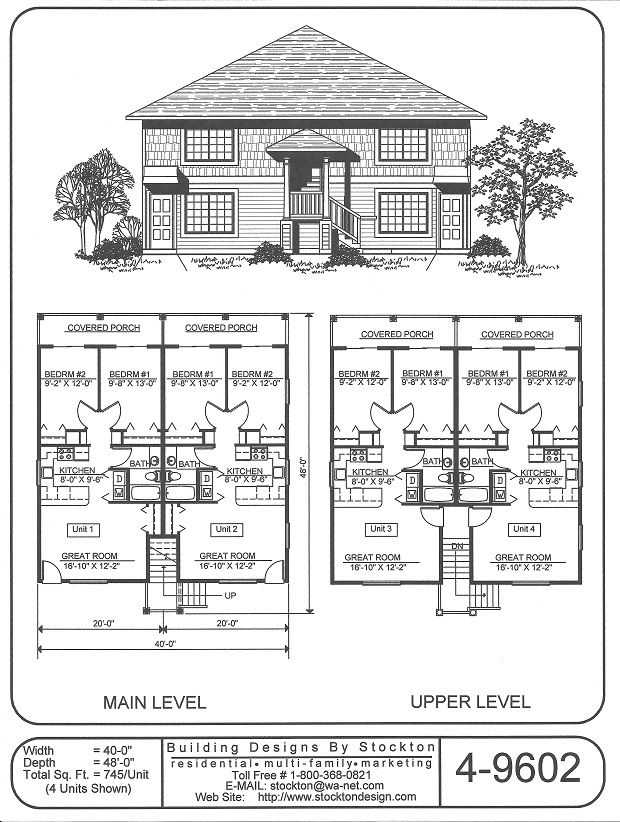 9 best rental property house plans images on pinterest for Fourplex design plans