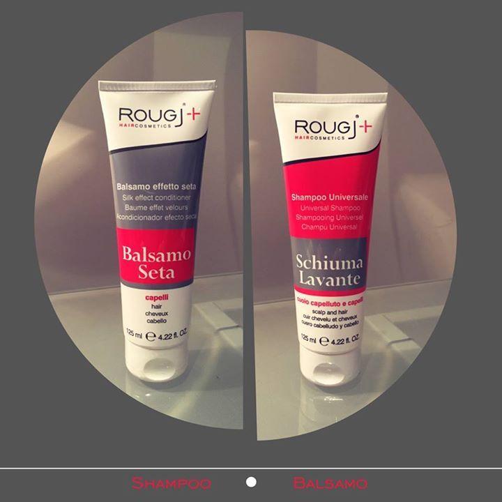 Prenditi cura dei tuoi capelli: Balsamo effetto seta e shampoo universale Rougj http://www.rougj.com/product-category/capelli/