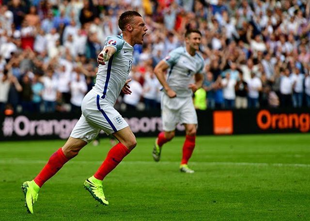 James Vardy, England scores against Wales. Euro 2016