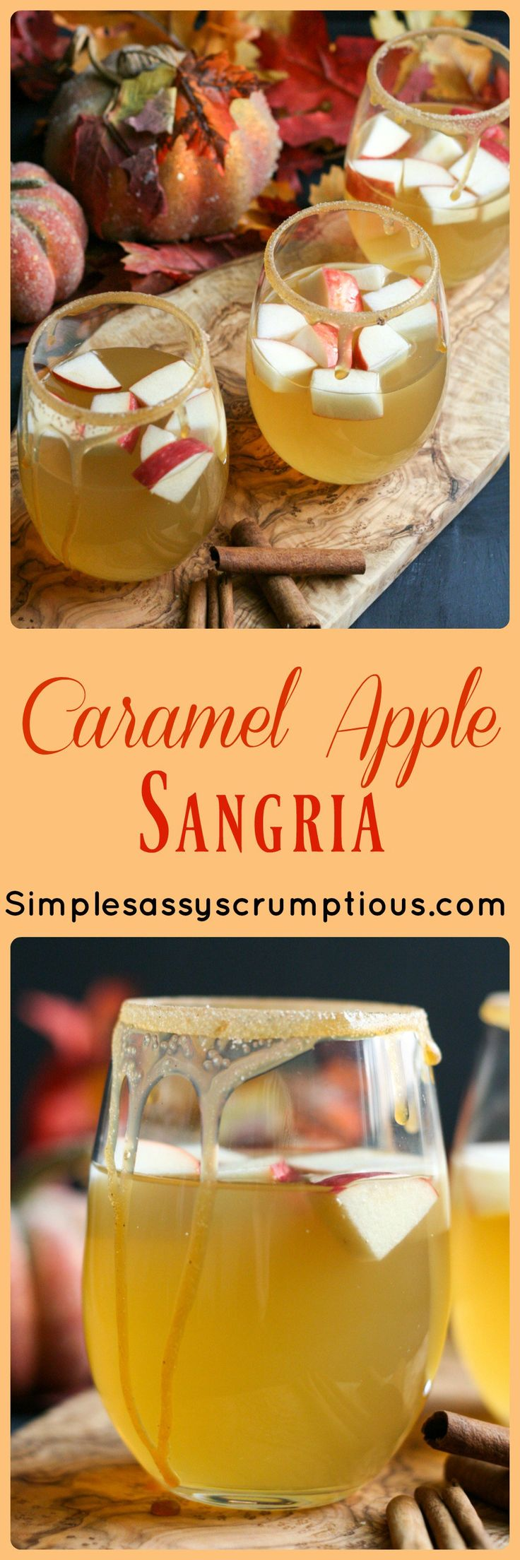 Rich and buttery caramel add a warm and cozy flavor to this Caramel Apple Sangria. The perfect cocktail for fall entertaining.