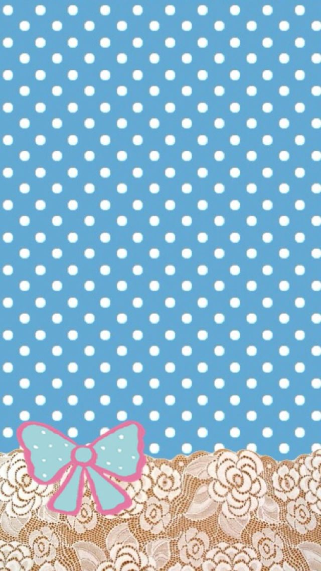 Cute blue poka dots and bow wallpaper Wallpaper from