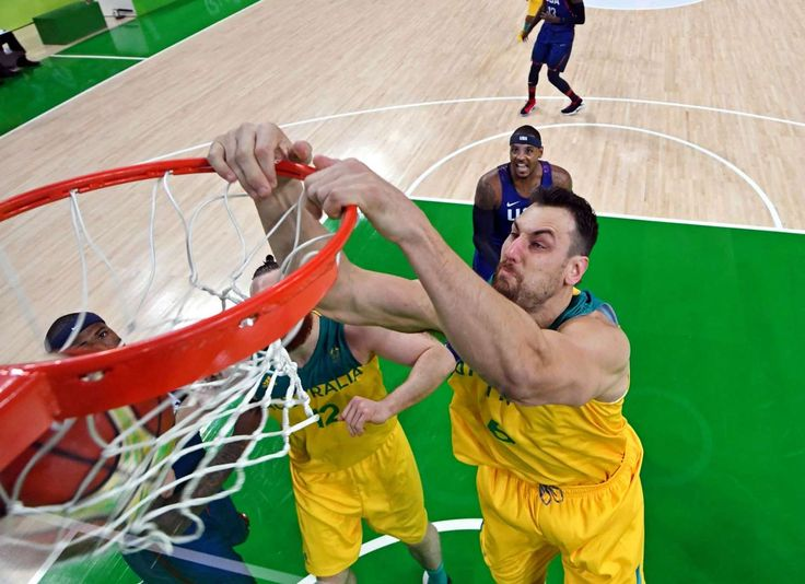 Australia center Andrew Bogut (6) dunks the ball against USA during men's basketball preliminary round in the Rio 2016 Summer Olympic Games at Carioca Arena 1.
