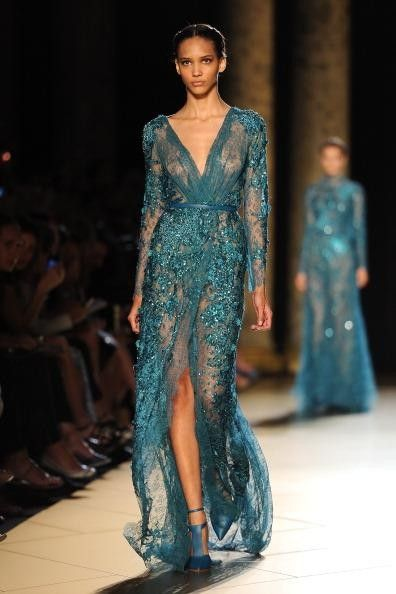 Elie Saab teal gown