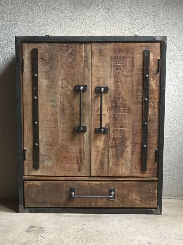 Wonderbaar Degelijk houten metalen wandkast wandkastje met la lade en PW-54