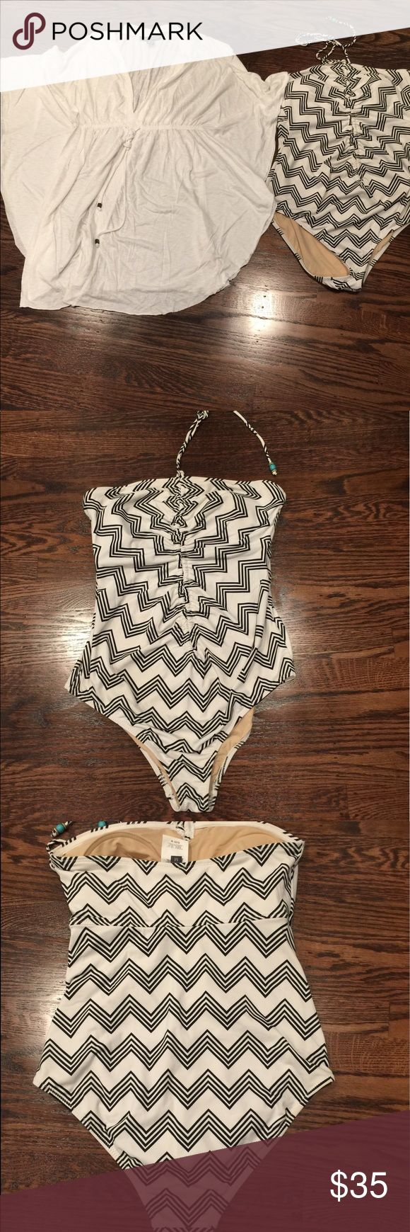A Pea in the Pod bathing set cover up set A Pea in the Pod maternity bathing suit with cover up set both size M.  Worn once only, like new condition. A Pea in the Pod Swim One Pieces