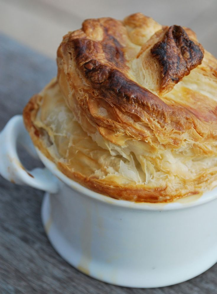 Chicken Pot Pie with a Crown of Puff Pastry