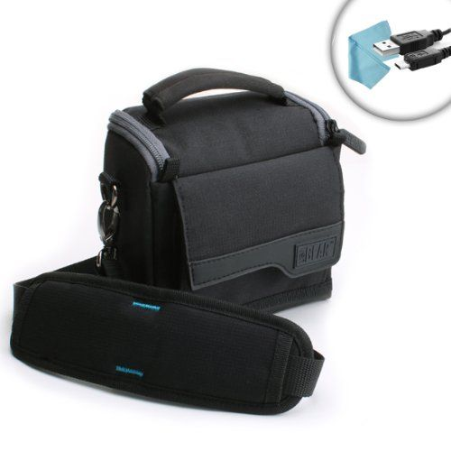 Compact Camera Travel Holster Bag with Shoulder Sling  Durable Ripstop Nylon Exterior  Storage Pockets by USA GEAR  Works With Canon EOS M10  Powershot SX720 HS  G5 X and More *** Check out the image by visiting the link.