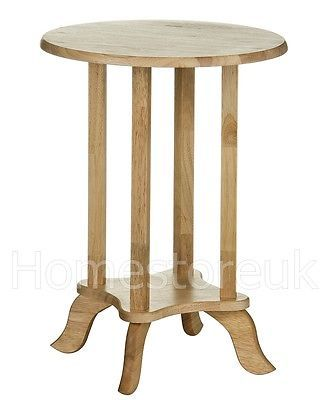 Rubber Wood Wooden Round Circle End Side Telephone Table Plant Pot Stand Unit 46