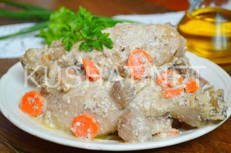 Курица с грибами в сливках. Пошаговый рецепт с фото