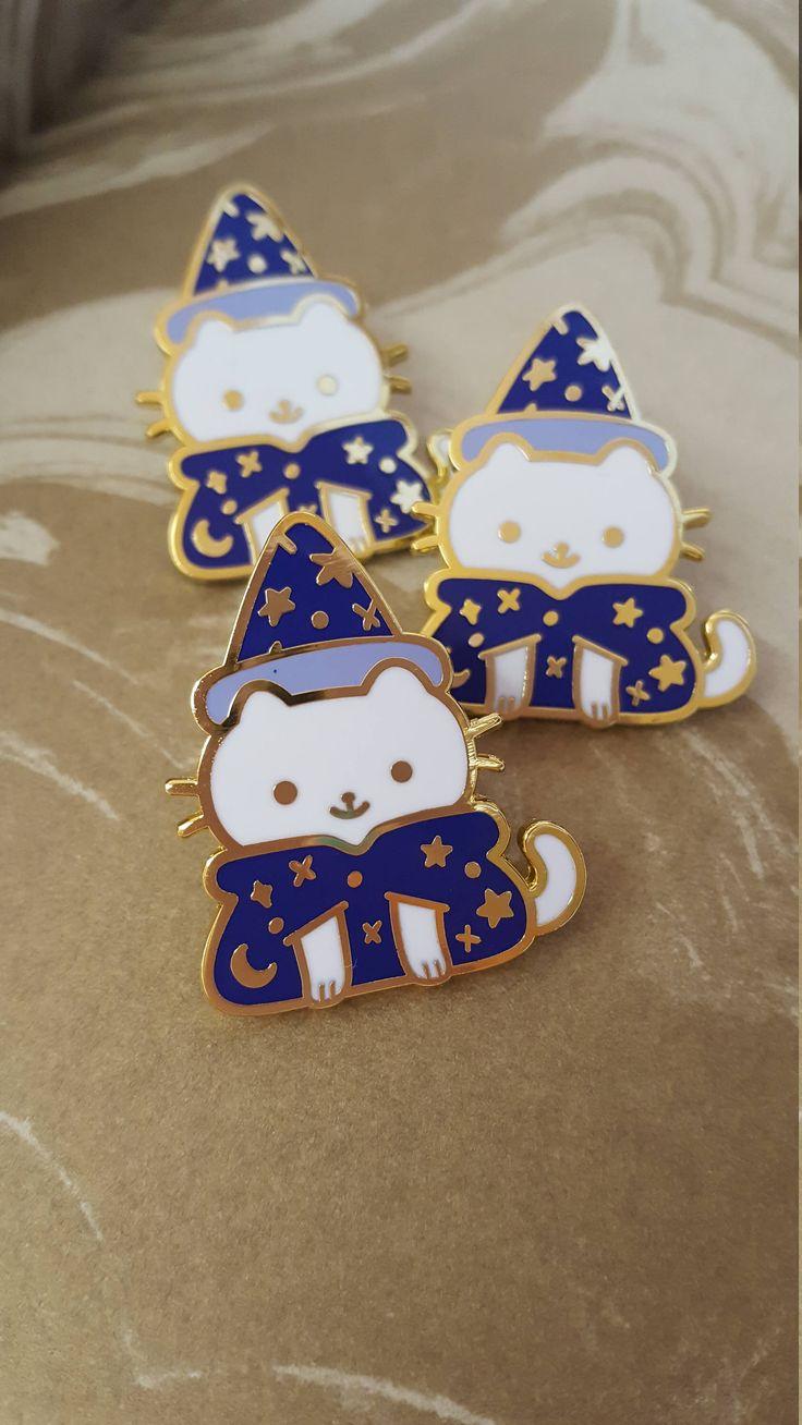 Wizard Friend - Cat Enamel Pin by Giraffalopebuttons on Etsy
