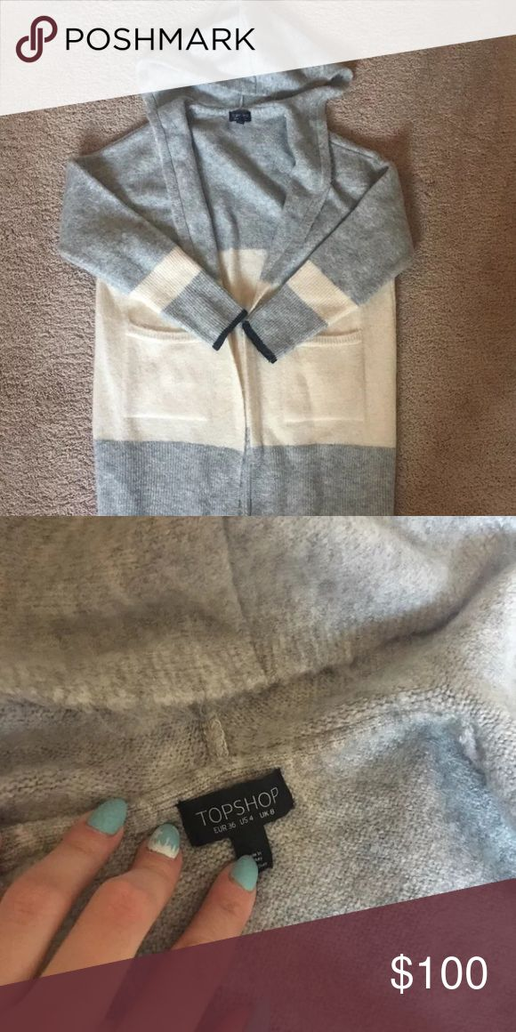 Topshop colorblock hooded cardigan small nordstrom Got during the 2016 nordstrom anniversary sale. Worn once, no signs of wear. Size 4 but is big and can fit anyone from size 4 to 8 (talking US sizing).  Can do $70 shipped via pypl. Topshop Sweaters Cardigans