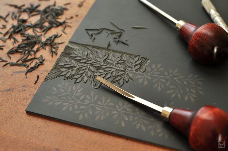 • Evemaude - Work in progress. Linocut printmaking technique