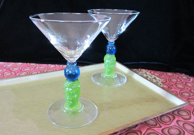 Richard Jolley 2 Pc Martini Glasses Set Vintage Bombay Gin Colorful Tiki Cocktail Liquor Glass 1996 Design Unique Collectible Barware USA by SaltwaterVillage on Etsy