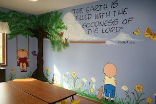 Decorating a children's/or Sunday School Room using stamps/digital images projected onto a wall.