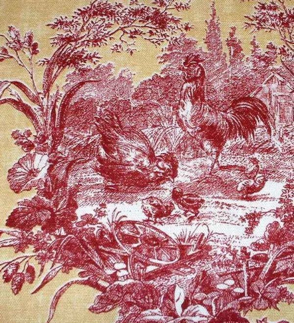 Waverly La Petite Ferme Rooster Toile Fabric Toile Fabric Red Toile Upholstery Fabric