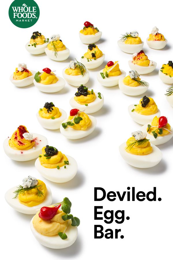 Let guests mix and match ingredients to create their own original take on the classic deviled egg. This mini-buffet is perfect for your Easter meal or a spring brunch.