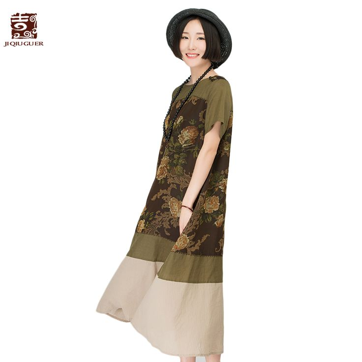 Cheap vintage maxi dress, Buy Quality maxi dress directly from China patchwork dress Suppliers: Jiqiuguer Brand women's one-piece vintage maxi dress in medium-long retro print linen dress oversized patchwork dress G162Y018