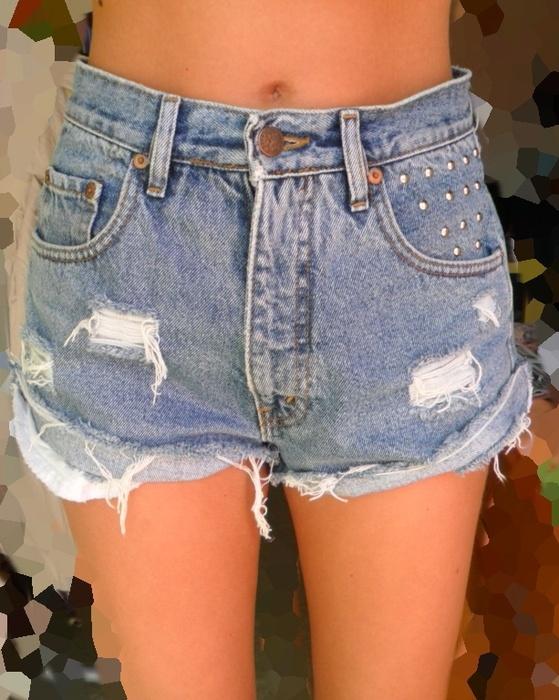 Vintage džínové kraťasy s vysokým pasem - cvočky