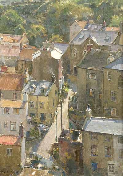 """""""Narrow street and rooftops - Staithes"""" by David Curtis 2012, oil on board. (Richard Hagen Fine Art Gallery)"""