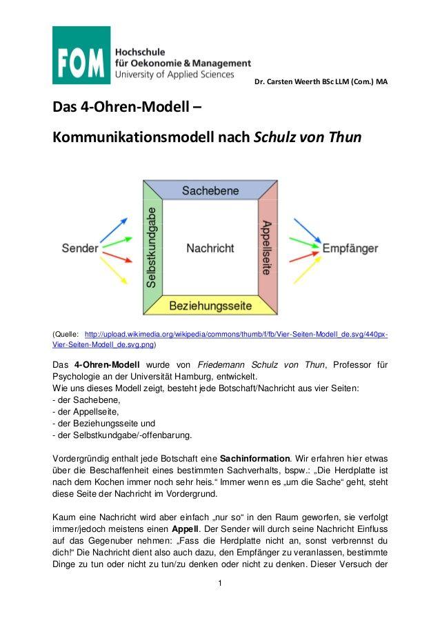 Fom Mediation Kommunikation 4 Ohren Modell Nach Schulz Von Thun Schulz Von Thun Kommunikation Kommunikation Lernen