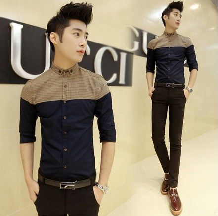 2014 Fashion Patchwork Korean Slim Fitted Cool Office Dress Shirt 2 color M-XXL Dropping Shipping $20.99